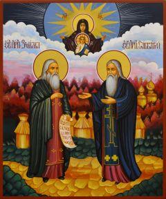 Рукописная икона Зосима и Савватий Соловецкие