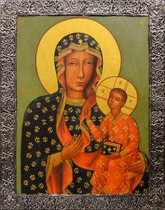 Рукописная икона Ченстоховская с окладом