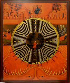 Рукописная икона Духовный Лабиринт храмовая 3