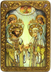 Икона ручной работы Петр и Феврония с камнями 4