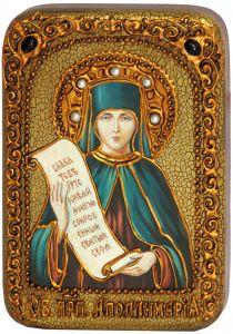 Икона ручной работы Аполлинария с камнями