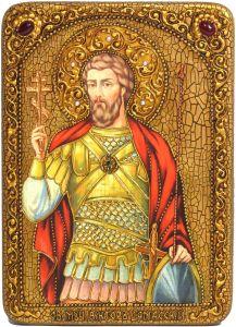 Икона ручной работы Виктор Дамасский с камнями