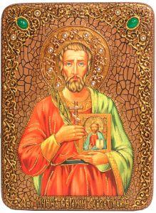 Икона ручной работы Евгений Севастийский с камнями