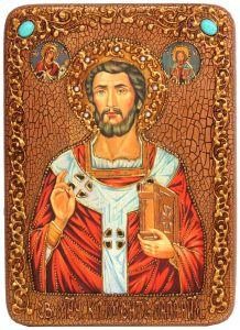 Икона ручной работы Климент папа Римский с камнями