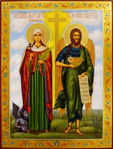 Рукописная семейная икона Маргарита Антиохийская и Иоанн Предтеча 86