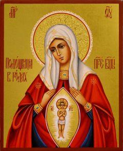 Рукописная икона Помощница в родах 5 (Размер 13*16 см)