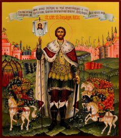 Рукописная икона Александр Невский 31 (Размер 27*31 см)