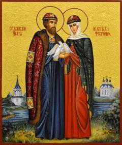 Рукописная икона Петр и Феврония с резьбой 87 (Размер 17*21 см)