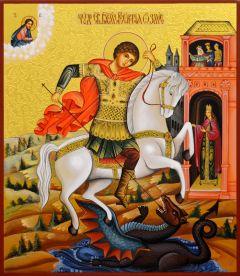 Рукописная икона Чудо Георгия о змие с резьбой 24 (Размер 27*31 см)