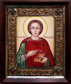 Икона из финифти Пантелеймон 13 (Размер 10*12 см)