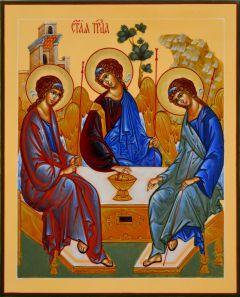 Рукописная икона Святая Троица натуральные пигменты 23 (Размер 17*21 см)