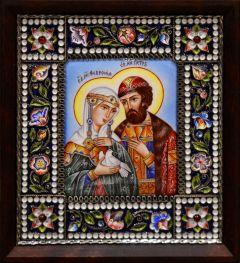 Икона из финифти Петр и Феврония 4