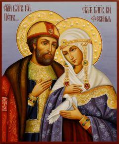 Рукописная икона Петр и Феврония с жемчугом 88