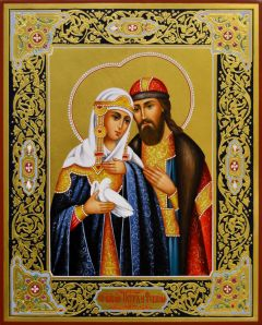 Рукописная икона Петр и Феврония с резьбой 89