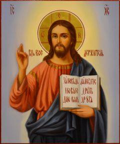 Рукописная икона Спас Вседержитель масло 46 (Размер 17*21 см)