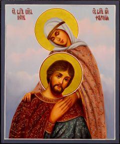 Рукописная икона Петр и Феврония масло 90 (Размер 17*21 см)