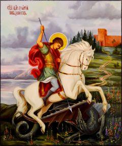 Рукописная икона Чудо Георгия о змии 25 (Размер 21*25 см)