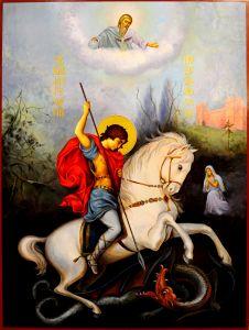 Рукописная икона Георгий Победоносец 26