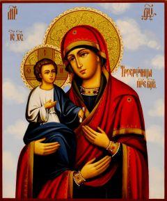 Рукописная икона Троеручица 8 (Размер 17*21 см)