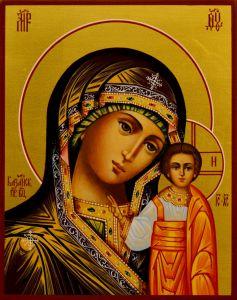 Рукописная Казанская икона 46 (Размер 13*16 см)