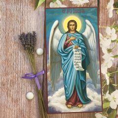 Рукописная икона Ангел Хранитель 77 (Размер 13*25 см)