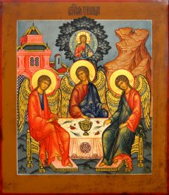 Рукописная икона Святая Троица с кракелюром 26 (Размер 27.5*31 см)