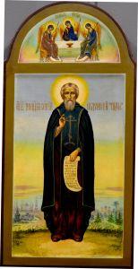 Рукописная икона Сергий Радонежский и Святая Троица (Размер 18*36.5 см)