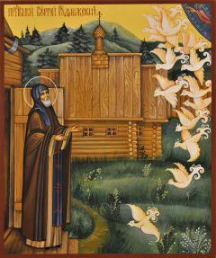 Рукописная икона Сергий Радонежский Чудо о птицах