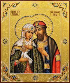 Рукописная икона Петр и Феврония с жемчугом 93 (Размер 21*25 см)