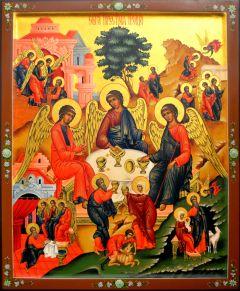 Рукописная икона Святая Троица 27