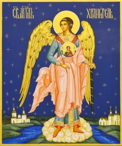 Рукописная икона Ангел Хранитель со Спасителем 64