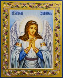 Рукописная икона Ангел Хранитель 86 (Размер 13*16 см)
