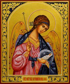 Рукописная икона Ангел Хранитель с Душой 87 (Размер 17*21 см)