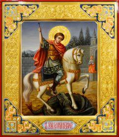 Рукописная икона Георгий Победоносец 27 (Размер 27*31 см)