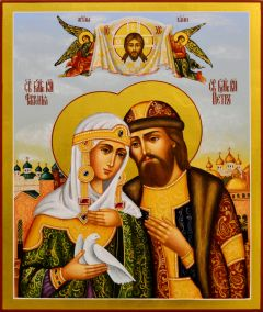 Рукописная икона Петр и Феврония 95 (Размер 21*25 см)