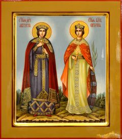 Рукописная икона Екатерина и Августа (Размер 27*31 см)