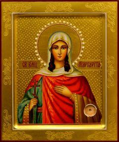 Рукописная икона Маргарита Антиохийская с жемчугом 2