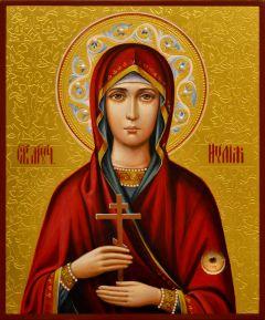 Рукописная икона Иулия Анкирская Коринфская с жемчугом 3