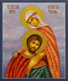 Рукописная икона Петр и Феврония 96 (Размер 17*21 см)