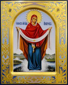 Рукописная икона Покров Пресвятой Богородицы 14 (Размер 22*28 см)
