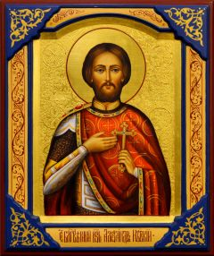 Рукописная икона Александр Невский 33 (Размер 21*25 см)