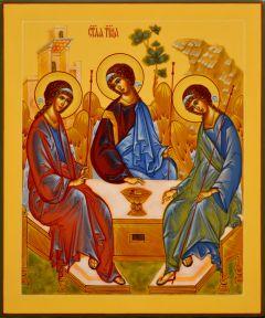 Рукописная икона Святая Троица натуральные пигменты 28 (Размер 21*25 см)