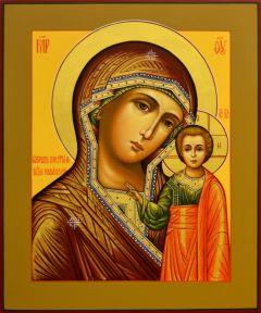 Рукописная икона Казанская 53 (Размер 17.5*21 см)