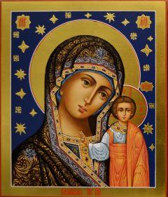 Рукописная икона Казанская со звездами 57 (Размер 21*25 см)
