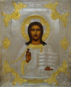 Рукописная икона Спас Вседержитель с окладом серебрение и золочение 55 (Размер 18*22 см)
