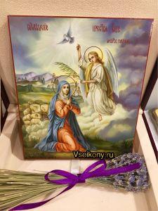 Рукописная икона Благовещение масло (Размер 17*21 см)