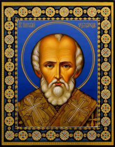 Рукописная икона Николай Чудотворец с резьбой 74 (Размер 22*28 см)