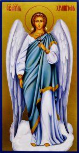 Рукописная икона Ангел Хранитель 85 (Размер 13*25 см)