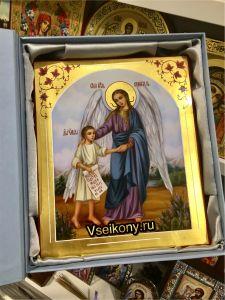 Рукописная икона Ангел Хранитель с Душой масло 90