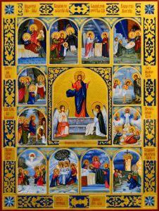 Рукописная икона Воскресение Христово и 12 Великих Праздников 3